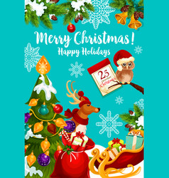 Santa sleigh with christmas gift and reindeer card vector