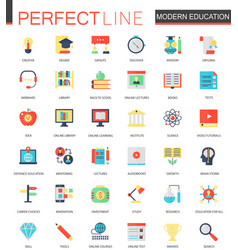 set of flat modern education e-learning vector image vector image