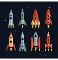 Space rockets icons set in flat style vector