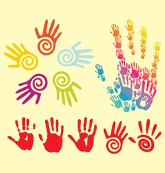 stylized hand prints vector image vector image