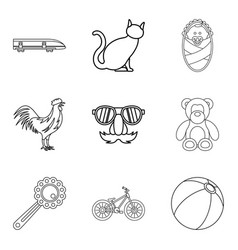 Supervision icons set outline style vector