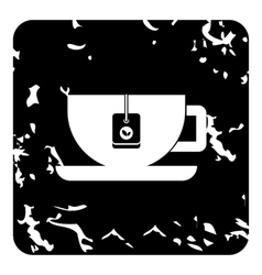 Tea cup icon grunge style vector image vector image