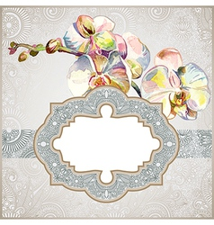 vintage template with watercolor orchid flower vector image