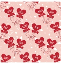 Wedding seamless pattern with hearts MR and MRS on vector image vector image