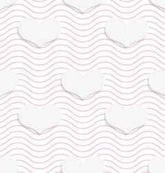 White 3d with colors hearts on pink waves vector