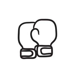 Boxing gloves sketch icon vector
