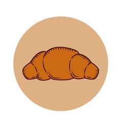 Delicious croissant bread icon vector