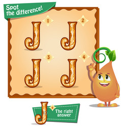 spot the difference letters j vector image