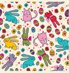 Bright easter pattern with rabbits vector