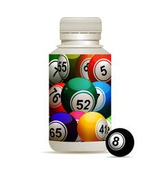 Bingo lottery balls in a bottle vector