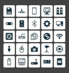 Hardware icons set collection of battery chip vector