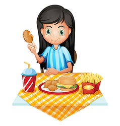 A girl eating vector image