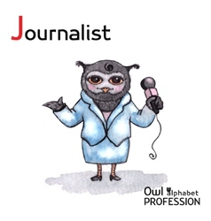 Alphabet professions owl letter j - journalist vector