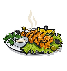 Salmon kebab vector