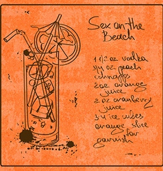 Hand drawn sex on the beach cocktail vector