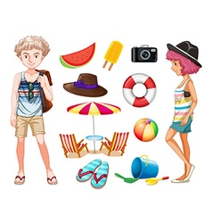 Hipsters and beach objects vector