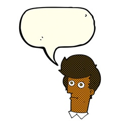 Cartoon staring face with speech bubble vector