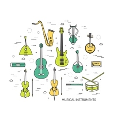 Thin line set of musical instruments modern vector