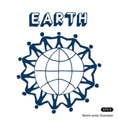 People standing together on earth vector