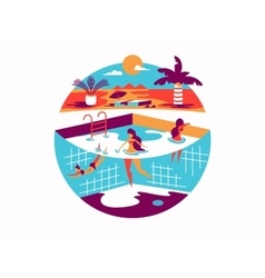 Swimming pool with people on vacation vector