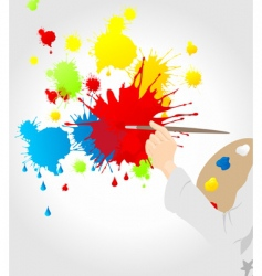 Artist with paint splats vector