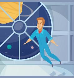 Astronaut weightless space cartoon icon vector