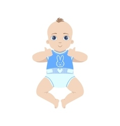 Baby in blue showing thumbs up vector