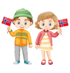 Boy and girl holding flag of norway vector