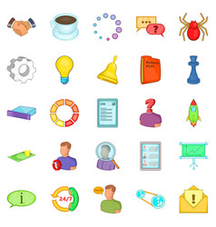 Business workshop icons set cartoon style vector