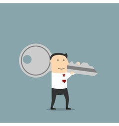 Businessman with a giant key on shoulder vector