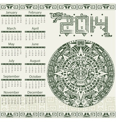 Calendar 2014 in mayan style vector image vector image