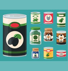 Collection of various tins canned goods food metal vector