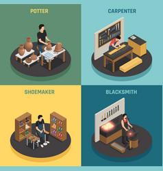 Craftsman professions 2x2 design concept vector