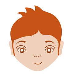 Cute boy face with hairstyle and expression vector
