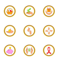 Donate hand icons set cartoon style vector