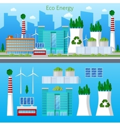 Eco Factory Green Energy with Solar Battery vector image