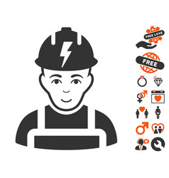 Electrician icon with dating bonus vector