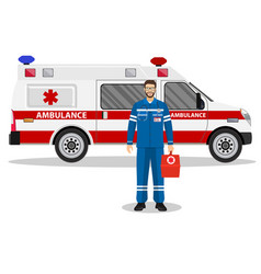 emergency doctor man and ambulance car vector image vector image