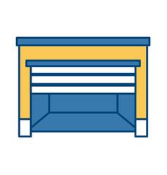 empty warehouse front open door template vector image