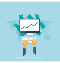 Flat hands global international trading concept vector