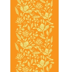 Golden floral embroidery vertical border seamless vector image vector image