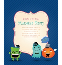 Hipster monster party card vector