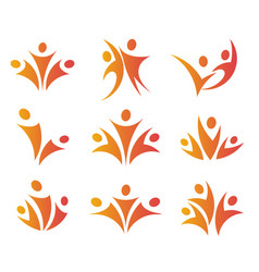 isolated abstract orange color people unity logos vector image