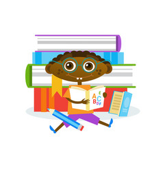 Little boy sitting at stack of books reading cute vector