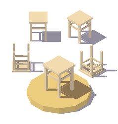 Low poly isometric stool vector