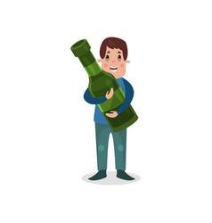 man holding giant bottle of alcohol harmful habit vector image