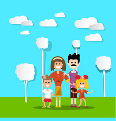 People in nature hapy family with paper cut flat vector