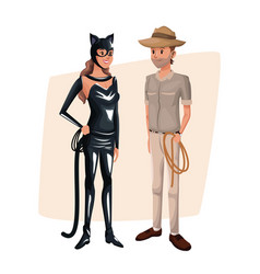 Poster with couple cat woman and explorer man vector