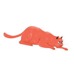 Red cat crawling for hunting vector