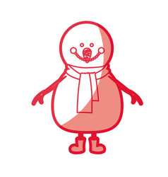 Red silhouette of snowman with scarf and boots vector